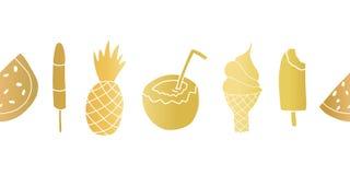 金箔夏天对待无缝的重复的传染媒介边界 横幅用西瓜,冰棍儿,菠萝,椰子,冰 向量例证