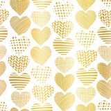 金箔心形无缝的传染媒介样式 在白色背景的金黄抽象织地不很细心脏 网横幅的文雅艺术, 向量例证