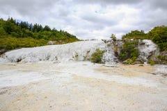 金羊毛,热量区域Orakei Korako在新西兰 库存照片