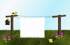 金翅雀、鸟舍和白色被子在晒衣绳 免版税库存图片