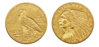金老鹰硬币 免版税库存图片