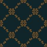 金花卉巴洛克式的装饰品的无缝的样式 免版税库存照片
