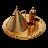 金茶具的例证 免版税库存图片