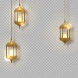 金葡萄酒光亮灯笼 阿拉伯光亮的灯 垂悬的现实灯 库存照片
