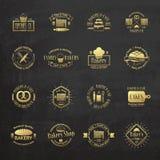 金葡萄酒面包店证章,标签和商标 库存照片