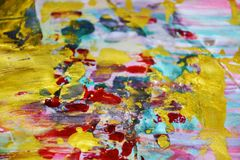 金蓝色软的桃红色水彩背景,蜡状的抽象纹理 免版税库存照片