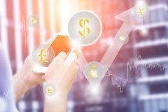 金融中心虚构的背景,金钱的创造性的概念,经济和投资 免版税库存照片