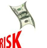 金融危机。 落的美元字符。 库存图片
