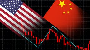 金融危机股票市场换美国旗子和中国旗子的投资屏幕图表图 免版税图库摄影