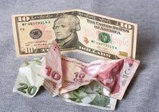金融危机:在被弄皱的土耳其里拉的新的美元 库存照片