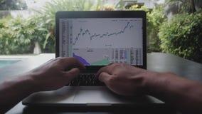 金融家在金融市场上的商人工作First-person画象在计算机上 POV 影视素材