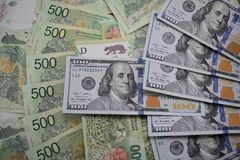 金融法案、阿根廷比索和美元 免版税库存照片