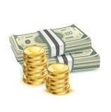 金融法案和堆硬币 库存图片