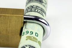 金融证券与锁的二十美金 免版税库存照片