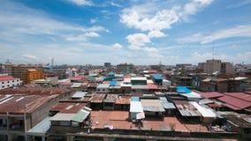 金边,柬埔寨屋顶视图  免版税库存照片