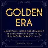 金金属字体集合 信件、数字和特性 库存例证