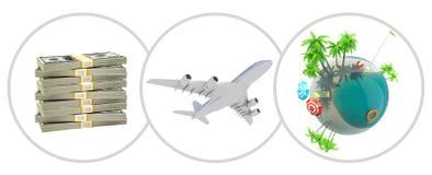 金钱、喷气机和地球地球 图库摄影