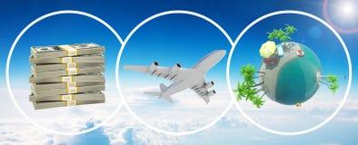 金钱、喷气机和地球地球 免版税库存照片
