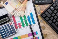 金钱、图、硬币、钞票、键盘、笔和计算器 免版税图库摄影