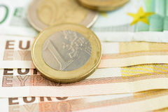金钱、欧洲货币& x28; EUR& x29; 免版税库存照片