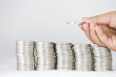 金钱、硬币和钞票 免版税库存图片