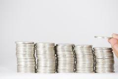 金钱、硬币和钞票 免版税库存照片