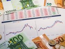 金钱与硬币和欧元票据的投资策略的图象 免版税库存图片