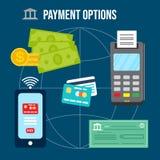 金钱交易和付款选择 向量例证