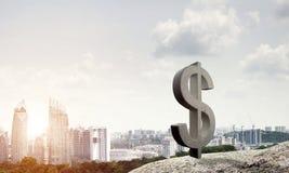 金钱做和财富概念由在自然风景的石美元标志提出了 免版税库存照片
