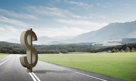 金钱做和财富概念由在柏油路的石美元标志提出了 免版税库存照片