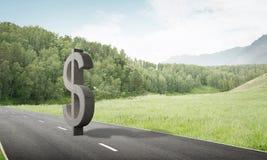 金钱做和财富概念由在柏油路的石美元标志提出了 库存图片