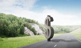 金钱做和财富概念由在柏油路的石美元标志提出了 免版税图库摄影