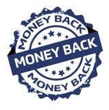 金钱后面蓝色圆的难看的东西邮票 标志 密封 免版税库存照片