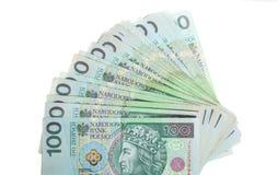 金钱和储款。堆100's擦亮剂兹罗提钞票 库存照片