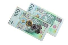金钱和储款。堆100's擦亮剂兹罗提钞票 图库摄影