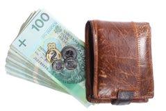 金钱和储款。堆100's擦亮剂兹罗提钞票 库存图片