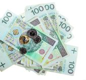 金钱和储款。堆100's擦亮剂兹罗提钞票 免版税库存照片