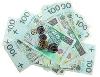 金钱和储款。堆100's擦亮剂兹罗提钞票 免版税库存图片
