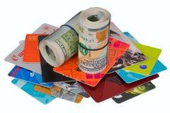 金钱和卡片路辗  免版税库存照片