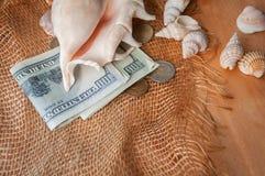 金钱和壳 免版税库存图片