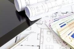 金钱和房子计划 库存图片