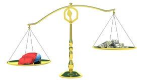 金钱和汽车在金平衡标度。隔绝在白色 库存照片