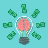金钱和脑子想法概念 免版税库存照片
