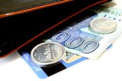 金钱和钱包 免版税库存照片
