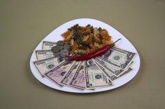 金钱和食物在板材,图象15 免版税库存照片