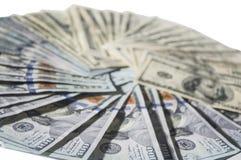 金钱在圈子的现金数百 免版税库存图片