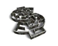 金钱在被构造的老肮脏的混凝土的形状迷宫 库存照片