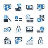 金钱堆积Icons_蓝色版本 向量例证
