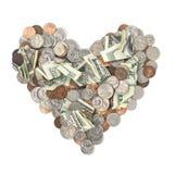 金钱心脏 库存照片