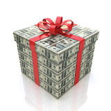 金钱有红色丝带的礼物盒在白色背景 免版税库存照片